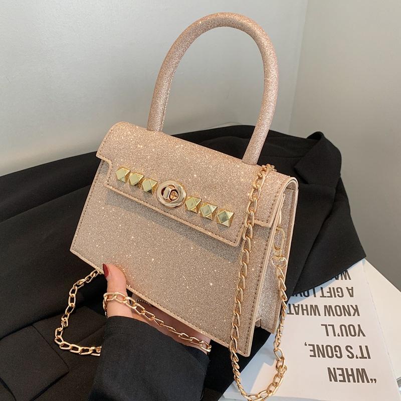 korean style chain messenger rivet portable small square bag NHLH368361