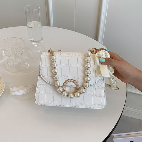 fashion solid color Stone grain texture pearl one-shoulder messenger tote bag NHLH368366's discount tags