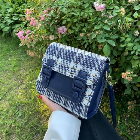 fashion woolen plaid pattern messenger one-shoulder armpit small square bag NHLH368368's discount tags