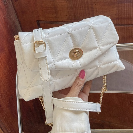 fashion rhombus embroidered thread chain lock small square bag NHLH368370's discount tags