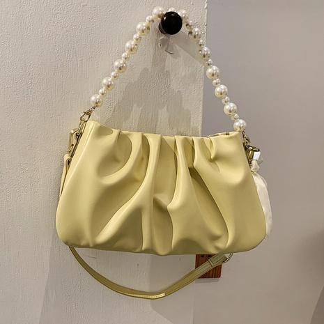 fashion pearl one-shoulder armpit folds cloud bag NHLH368373's discount tags