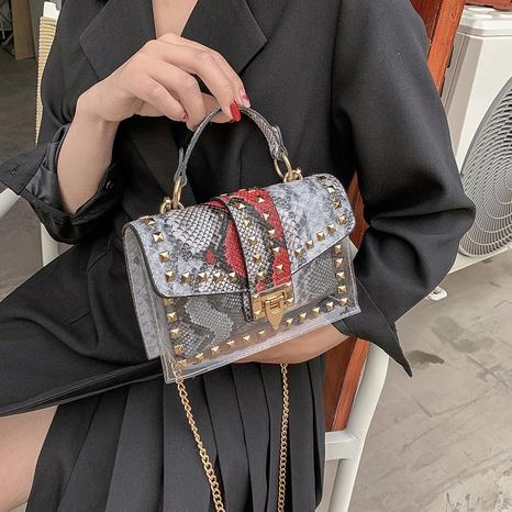 Korean style snakeskin pattern buckle rivet single shoulder messenger small square bag NHLH368376's discount tags