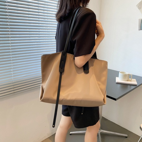 simple solid color large-capacity one-shoulder tote bag NHWH368407's discount tags