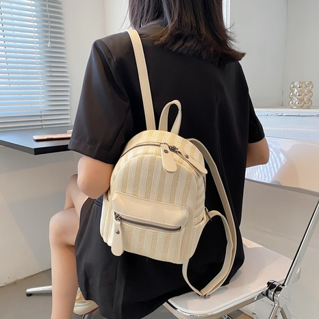 fashion contrast color stripe zipper woven backpack  NHWH368415's discount tags