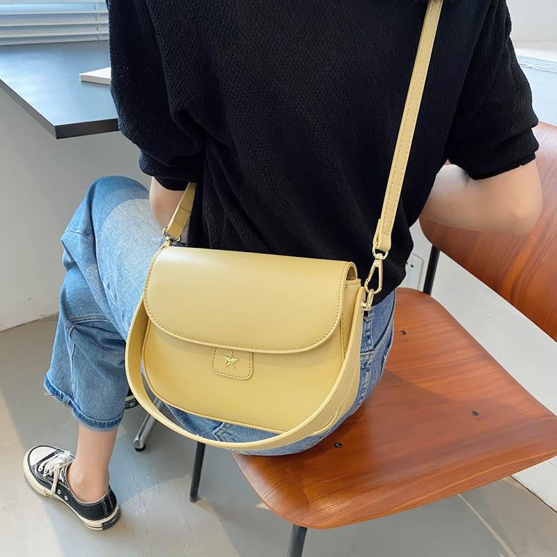 simple solid color oneshoulder crossbody saddle bag  NHWH368416