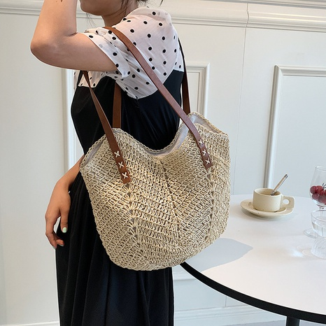 wholesale simple large-capacity straw woven bag  NHWH368431's discount tags