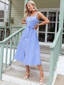 fashion blue stripe bows sling dress NHDE368433