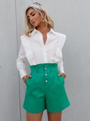Fashion solid color button elastic waist shorts NHDE368439