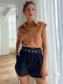 simple solid color lapel button sleeveless shirt NHDE368443