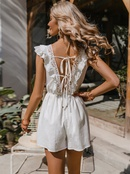 Simple solid color lace wrap chest ruffle jumpsuit NHDE368464