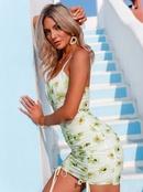 Simple printed suspender tight dress NHDE368465