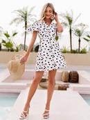 Fashion contrast color polka dot Vneck shortsleeved dress NHDE368468
