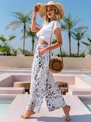 Fashion contrast print stretch waist trousers NHDE368469