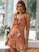 Fashion ruffled polka dot sleeveless dress NHDE368476