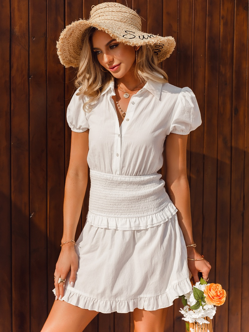 Fashion solid color short sleeve dress with lapel NHDE368485