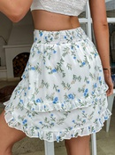 Fashion floral doublelayer flanging skirt NHDE368488
