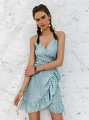 fashion solid color vneck laceup pleated dress NHDE368493