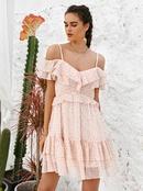 fashion offshoulder sling high waist solid color dress NHDE368495