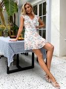 fashion vneck sleeveless high waist floral dress NHDE368499