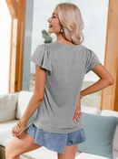 casual solid color splicing ruffle short sleeve loose tops NHDE368501