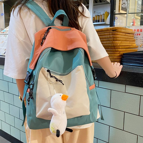 Korean style hit color large-capacity zipper backpack NHLH368378's discount tags
