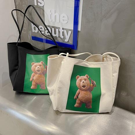 simple cartoon Bear pattern large capacity casual shoulder canvas bag  NHJZ367976's discount tags