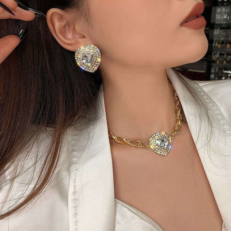 fashion heart crystal pendant necklace NHBOJ368818