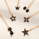 simple black dripping flower fivepointed star crown cat pendant necklace set NHNU368797