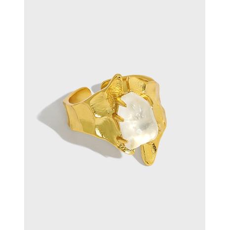 Koreanischer mikroeingelegter Kristall breiter gestaffelter S925 Sterling Silber offener Ring silver NHFH368508's discount tags