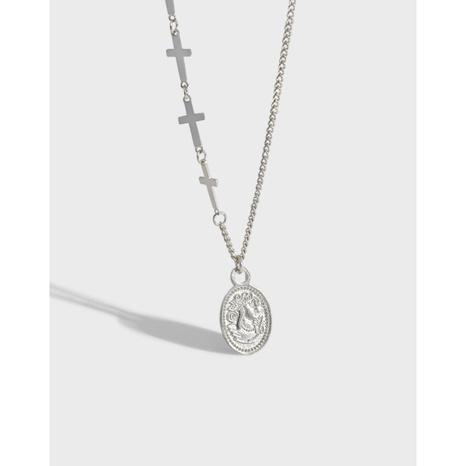 Silberne Halskette mit rundem Label im koreanischen Stil NHFH368515's discount tags