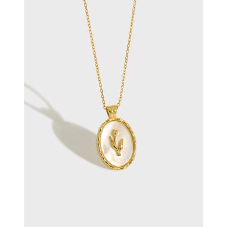 Geometrische ovale silberne Tulpenmuschelhalskette im koreanischen Stil NHFH368521's discount tags