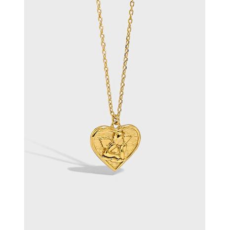 Silberne Halskette mit herzförmigem Engel im koreanischen Stil NHFH368523's discount tags