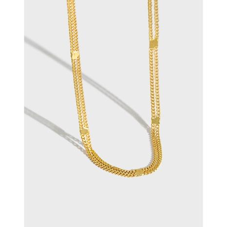 Doppellagige Silberkette im koreanischen Stil NHFH368526's discount tags