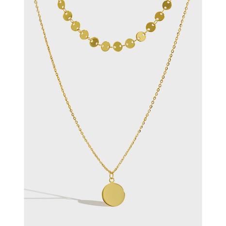 Doppellagige Silberkette mit geometrischer Scheibe im Koreanischen Stil NHFH368530's discount tags