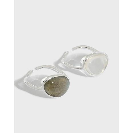 Koreanischer mikroeingelegter Mondsteinkristall S925 Sterling Silber offener Ring NHFH368532's discount tags