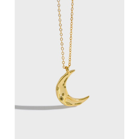 Koreanische unregelmäßige konkave konvexe Mond-Silber-Halskette NHFH368533's discount tags