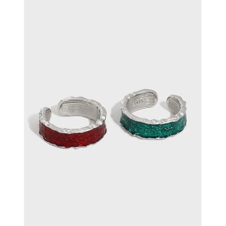 Koreanischer Mikro-Intarsien-Epoxy unregelmäßiger S925 Sterling Silber offener Ring NHFH368535's discount tags