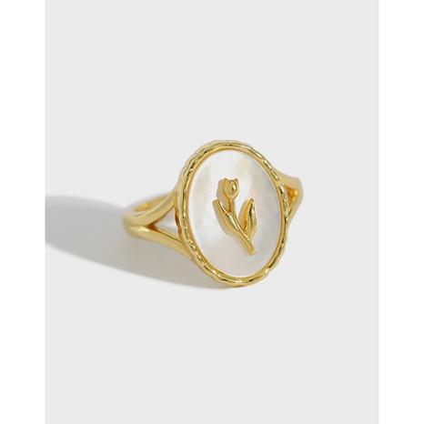 Koreanischer S925 Sterling Silber Tulpenmuschel geometrischer ovaler Ring NHFH368538's discount tags