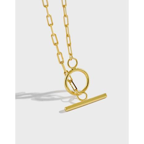 Silberne Halskette mit OT-Schnallenkette im koreanischen Stil NHFH368539's discount tags