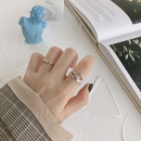 Korean S925 sterling silver wave pattern line opening ring NHFH368544