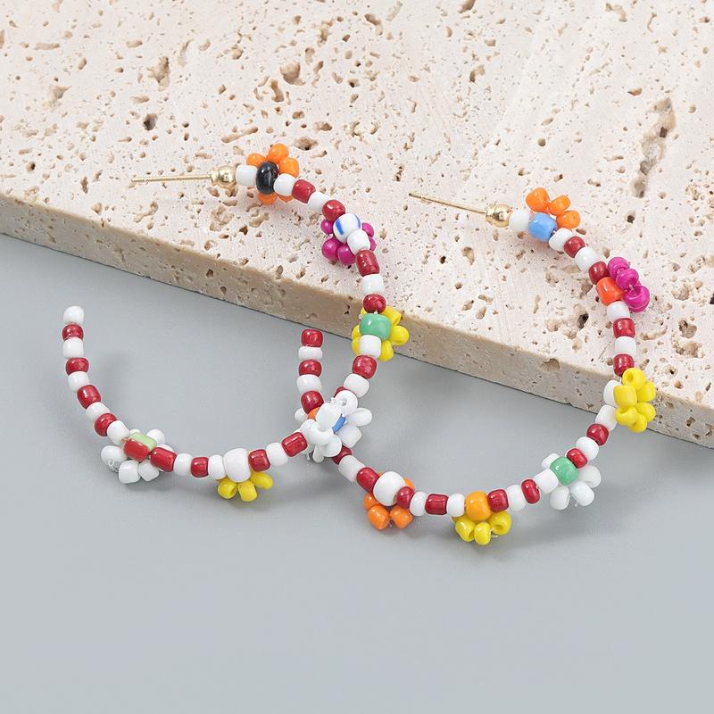 Bohemia style creative colorful rice beads Cshaped earrings NHJE368575