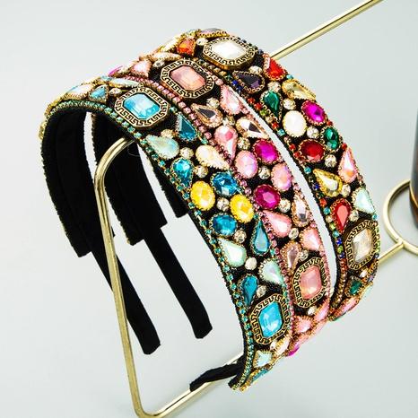 Diadema de flores de diamantes de imitación de color con incrustaciones de borde fino de estilo barroco NHLN368610's discount tags