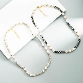 Retro Bohemian Geometric Pearl Rhinestone Hand-Beaded Necklace  NHLN368601