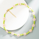 simple small daisy beads contrast color necklace  NHLN368603