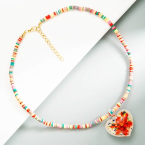 ethnic style colored beads heart-shaped flower glass pendant necklace  NHLN368604