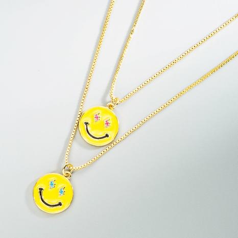 Koreanische Smiley-Kupfertropfen-Öl-Anhänger-Halskette NHLN368608's discount tags