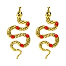 punk style metal snakeshaped winding inlaid gemstone earrings NHLN368616