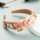 fashion creative super flash glass diamond fabric flower headband NHLN368618