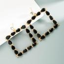 fashion square water drop alloy diamond earrings  NHLN368620