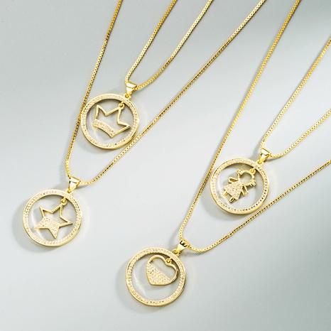 neue Art und Weise geometrische Sternherz-Messingrunde hängende Halskette NHLN368617's discount tags
